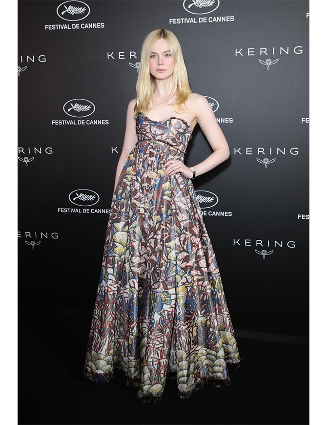 Elle wearing Dior Haute Couture at the Kering Women in Motion Awards in Cannes