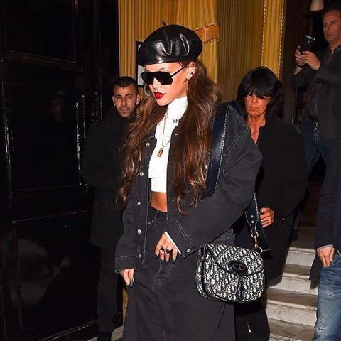 Rihanna lent her enviably edgy cool to  MariaGraziaChiuri s leather beret  fresh off the Autumn- f298ce5d59e
