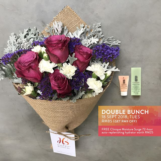 18 Sept 2018, Tuesday's Bunch: Rose, Spray Carnation, Limonium Perezii & Silver Leaf  This 4-day work week calls for another celebration, don't you think?  RM47. Free same day delivery to selected areas in Klang Valley. Order at happybunch.com.my by 12:30pm for same-day delivery. T&C apply.  Receive a FREE Clinique Moisture Surge 72-hour auto-replenishing hydrator worth RM25 when you order a double or bigger bunch for delivery from 12 Sep to 29 Sep 2018! While stocks last.  #happybunchmy #justbecauseflowers #reasonstosmile