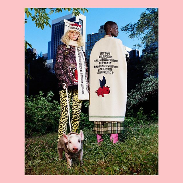 A special editorial shoot by @frankleboner presents the #Gucci collection that celebrates the year of the pig with a lineup of ready-to-wear pieces and accessories embellished with playful designs by #AlessandroMichele. Discover the collection through link in bio.  Creative Director: @alessandro_michele Art director: @christophersimmonds