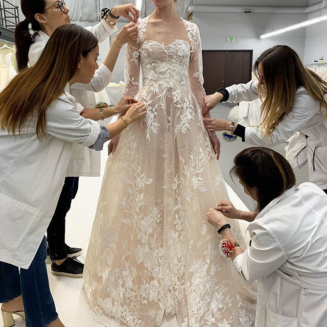 All hands on her...Working on my next bridal collection...My creativity process      xM #moniquelhuillier #bts