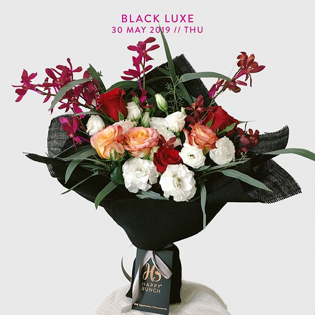 30 May 2019, Thursday Black Luxe: Rose, Eustoma, Orchid & Eucalyptus  Go on, tug on that heartstring    RM99. Free same day delivery to selected areas in Klang Valley. Order now at happybunch.com.my. Floral arrangement & wrapping style may vary, T&C apply.  #happybunchmy #justbecauseflowers #reasonstomile