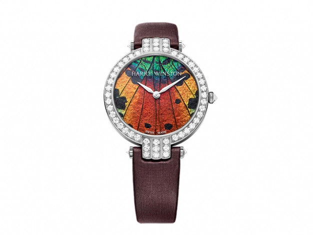 Harry Winston Premier Precious Butterfly in white gold and burgundy strap