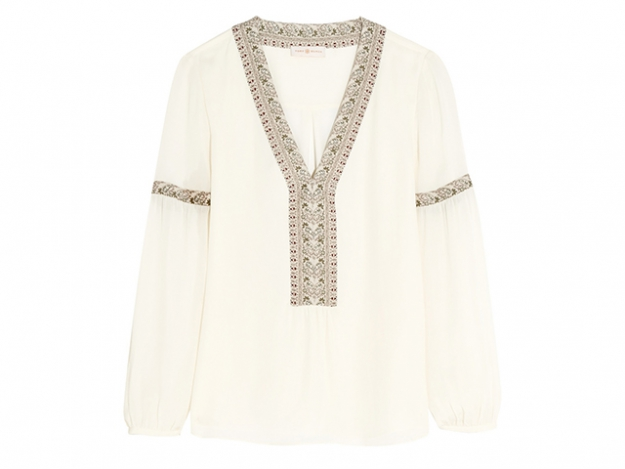 Tory Burch paisley-trimmed silk blouse