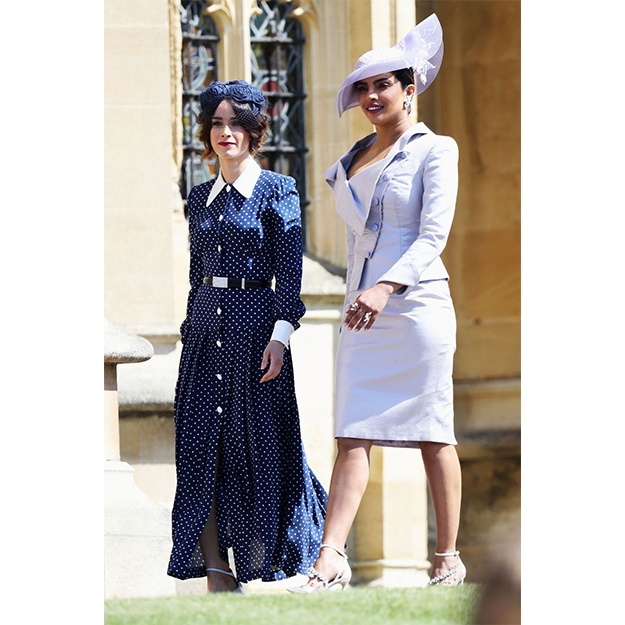 Abigail Spencer in Alessandra Rich; and Priyanka Chopra in Vivienne Westwood dress and Philip Treacy hat