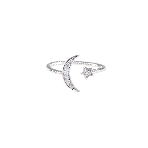 Crescent and star silver ring