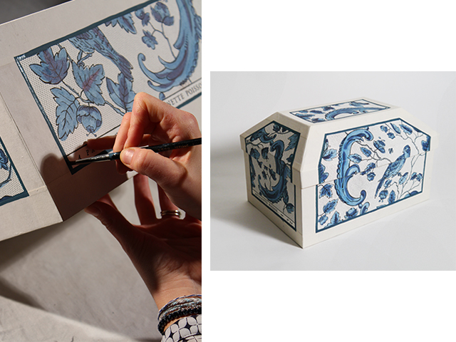 Printed motifs are painted by hand