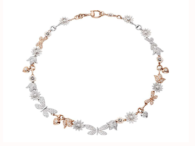 Gucci Flora necklace in 18kt white and pink gold, enamel and diamonds