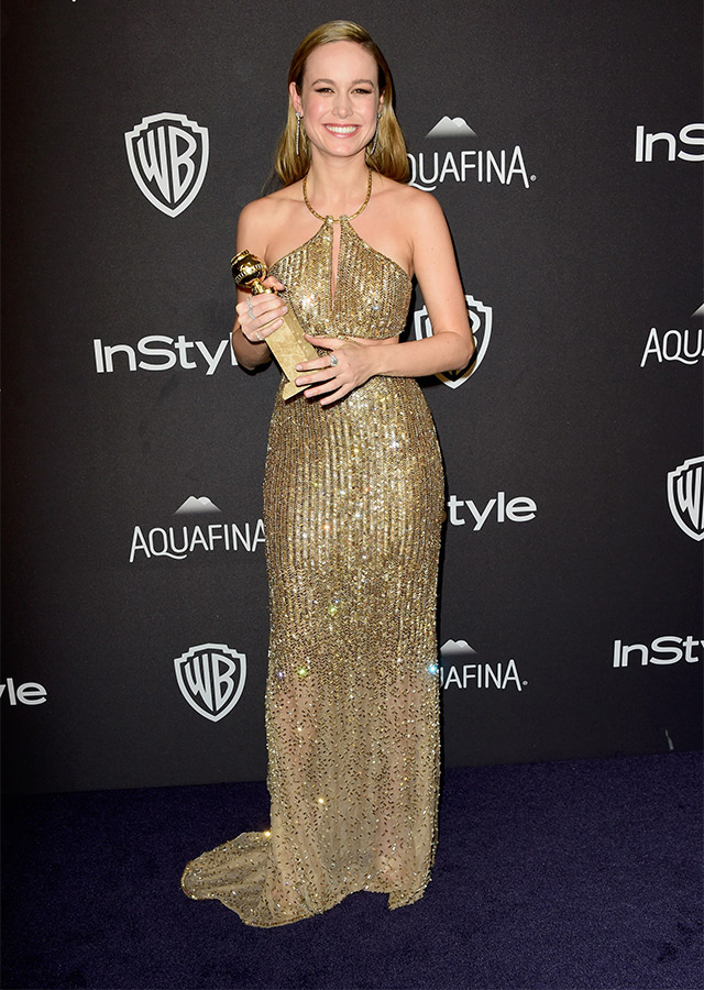 Brie Larson in Calvin Klein Collection at the Golden Globe Awards