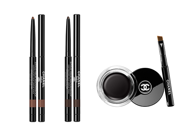 Stylo Yeux Waterproof in Mat Taupe and Noir Pétrole; Calligraphie Chanel Hyperblack