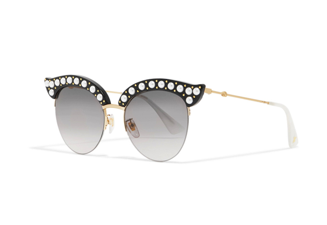 Gucci embellished cat-eye acetate and gold-tone sunglasses