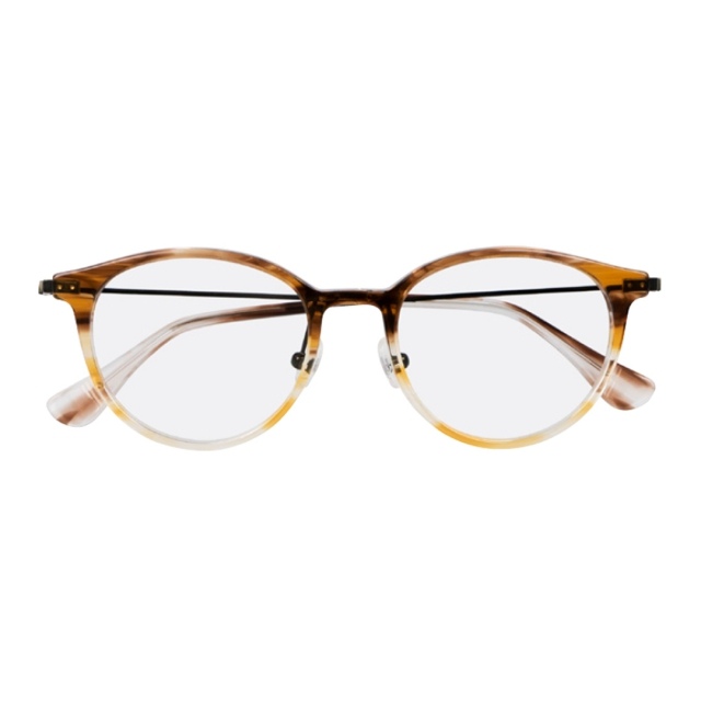 CK5943A - Once dubbed the hipster glasses, this trendy round profile combines a mixture of materials and complemented by thin metal temples