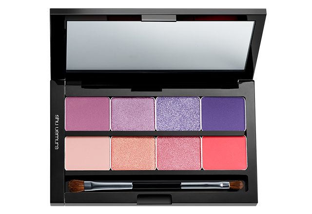 shu uemura custom refillable palette can contain 8 pressed eye shadows or 4 blush colours, or a combination of the two
