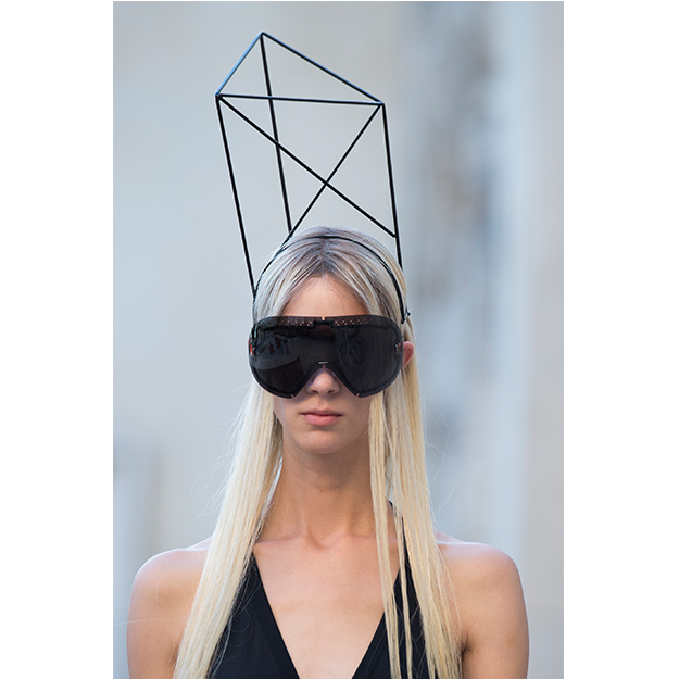 Towering headpieces turned heads at Rick Owens