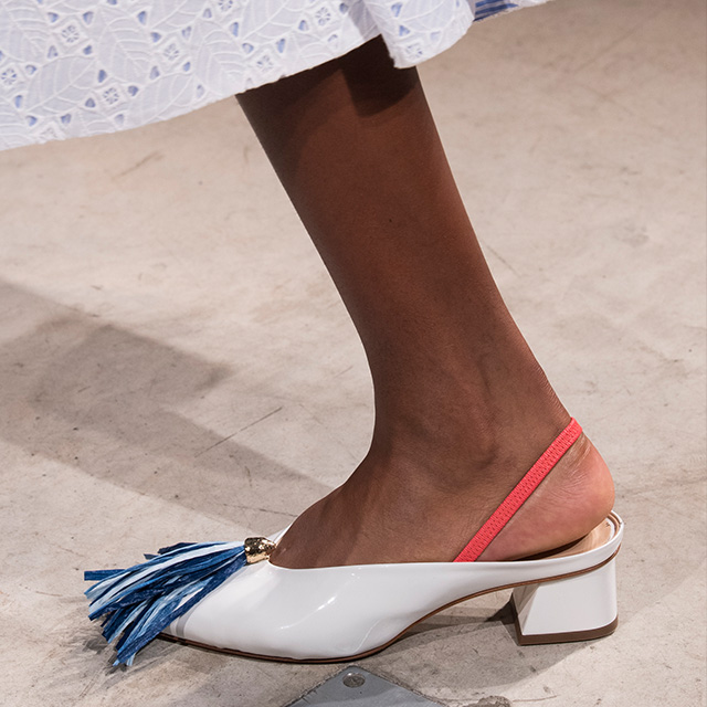 Best foot forward in slingback block heels and fringed toes