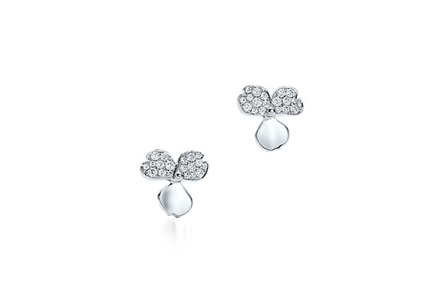 Tiffany Paper Flowers earrings in platinum with diamonds