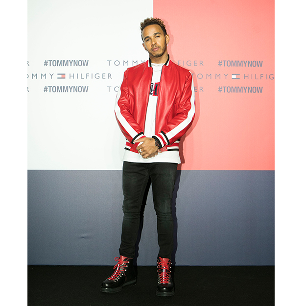 Lewis Hamilton in Tommy Hilfiger