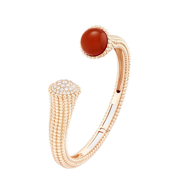 Perlée Couleurs bracelet in pink gold and carnelian