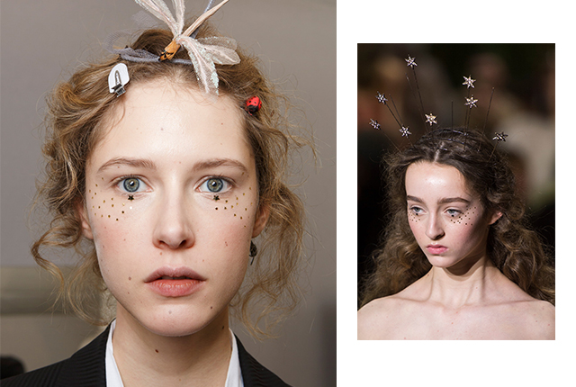 """A modernised pre-Raphaelite beauty\"" was the inspiration for Dior, and Peter Philips translated this with starry glitter placed on the cheekbones up to the temples."