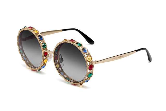 'Mambo' One of a kind - shiny gold with multi-coloured crystals and gray gradient lenses