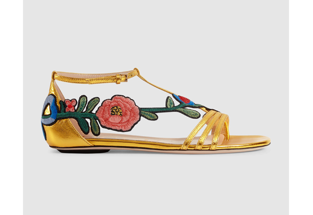 Gucci embroidered metallic leather sandal