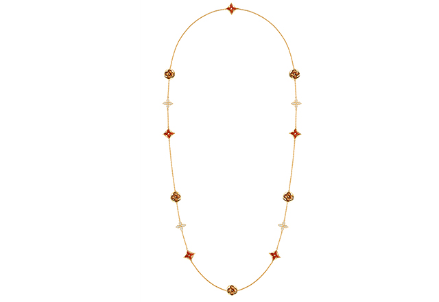 Long necklace in yellow gold with diamonds, carnelian and tiger's eye