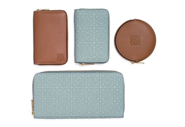 Aqua repeat Anagram engraved calf and tan calf wallets and coin purse