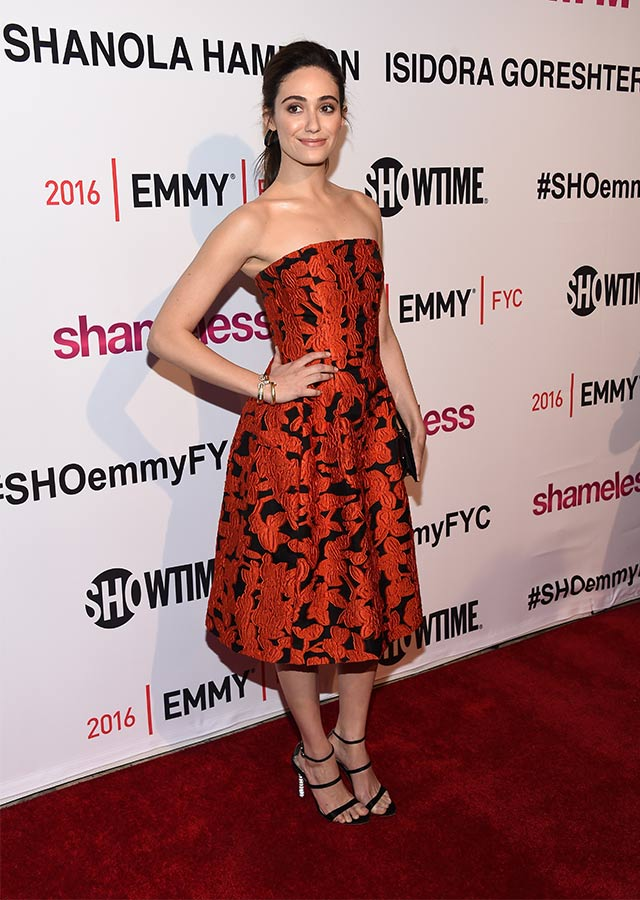 Emmy Rossum looking prim and proper in Oscar de la Renta