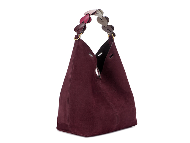 Small bucket, Nubuck in Claret with Heart Short Strap