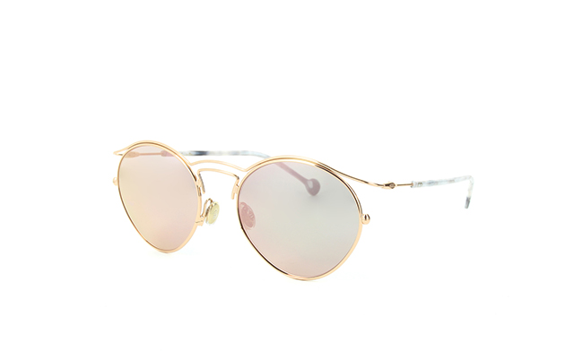 Dior Origins 1: Round metal-rimmed sunglasses with slender wire frame and marbled temples