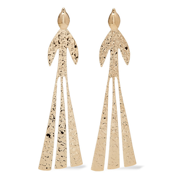Hammered gold-plated earrings, JW Anderson