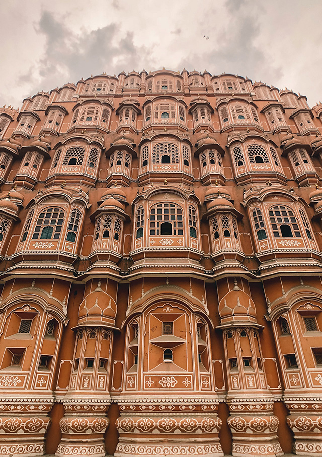 "Hawa Mahal, The Wind Palace of Rajasthan, in Jaipur<p>The Wind Palace of Rajasthan, and its breathtaking honeycomb-like architecture, easily became one of Anwar's favourite places on this trip. Photographing its grandeur was another matter. He recounts, ""The building is right in front of the main road, so taking pictures&nbsp;can be quite tricky and dangerous even though the angle is great. To overcome this, I used a wide angle to capture the whole building\"".&nbsp;</p>"