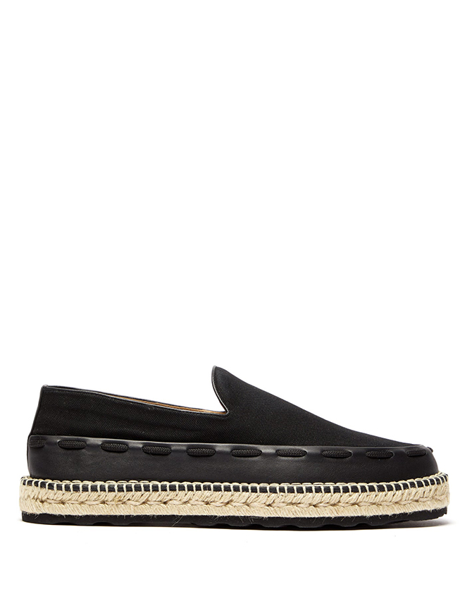 Leather-trimmed canvas espadrilles, Bottega Veneta