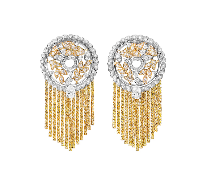 Ble Gabrielle earrings in yellow gold, white gold and diamonds