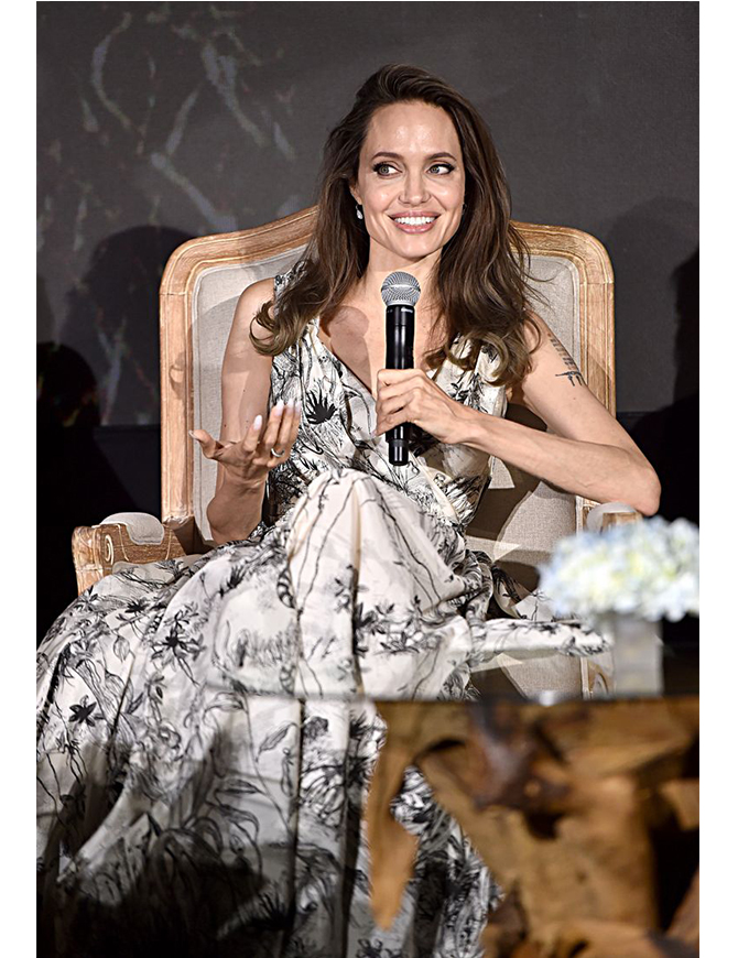Angelina Jolie in Dior at the global press conference in Beverly Hills