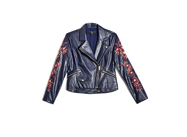 Floral biker jacket with embroidered sleeves
